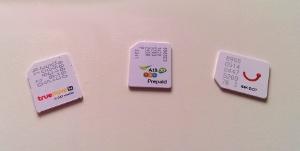 Dtac, AIS, and True Sim Cards